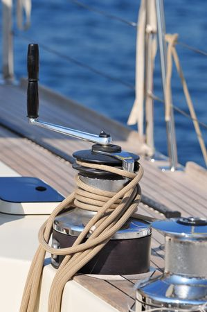 Close-up of winch with rope of a sailboat