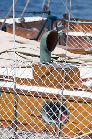 Detail of a sailboat with focus on deck cowl ventilator