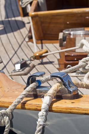 Close-up of ropes on a wooden sailboat Stock Photo
