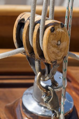 Close-up of a wooden block on a vintage yacht Stock Photo