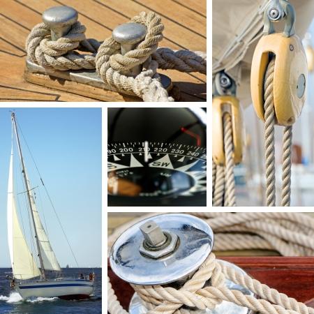 deportes nauticos: Collage de im�genes de barcos y equipos mar�timos Foto de archivo