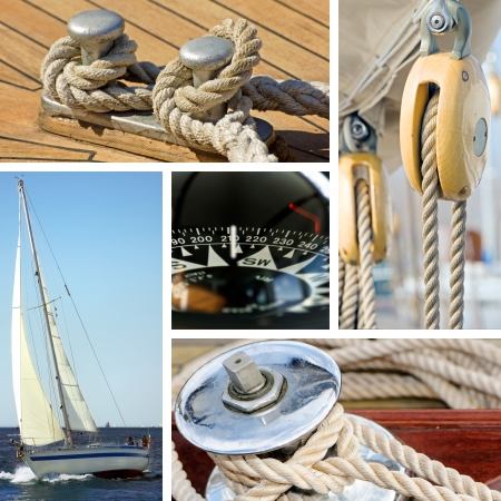Collage of boat and maritime equipments images photo