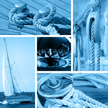 Boats and yachts concepts - blue toned