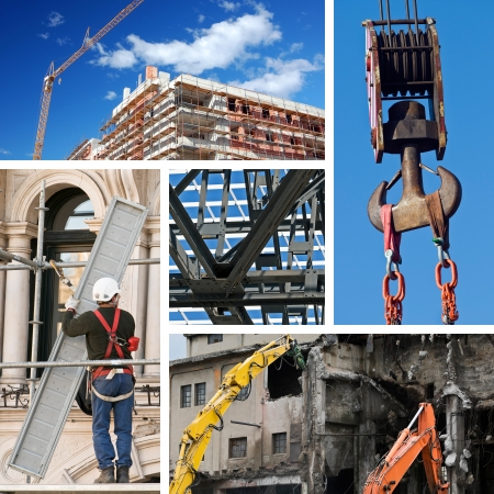 Composition of construction objects and themes Stock Photo