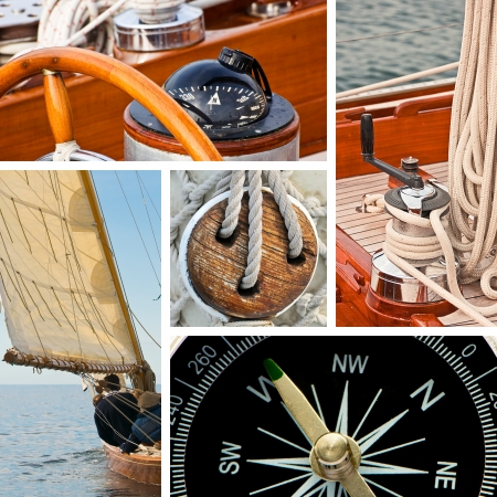 Composition of boats and nautical equipment photo