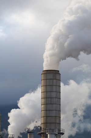 Detail of industrial chimneys with white smoke
