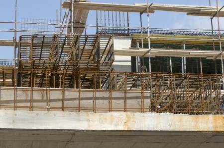 Detail of reinforcement in a new building Stock Photo