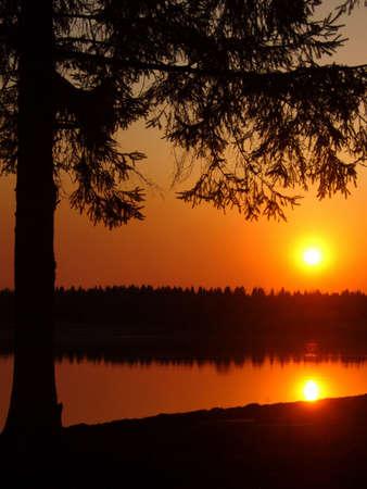 Sunset on river, night photo