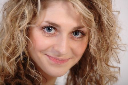 blonde girl with blue eyes� portrait on white background Stock Photo - 864815