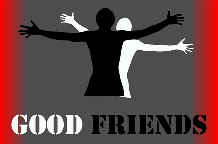 jovial: People hug each other, friends embrace - vector graphic.  With an inscription - good fritnds