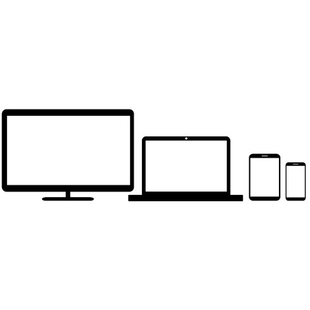 personal data assistant: Realistic monitors laptop tablet and phone vector
