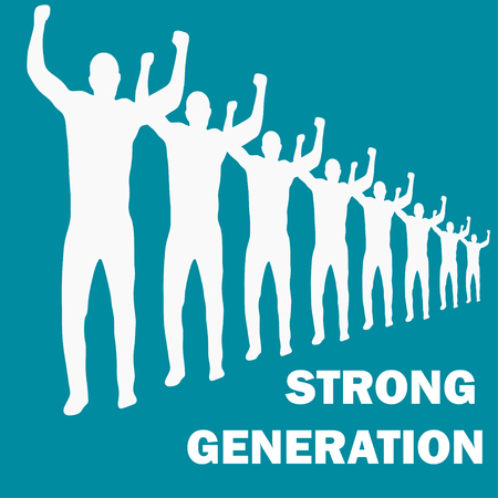 new generation: Strong generation with text.  People in a row