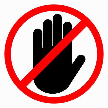 Przekreślona ręka w czerwonym kółku. Zakaz ręki Ilustracje wektorowe