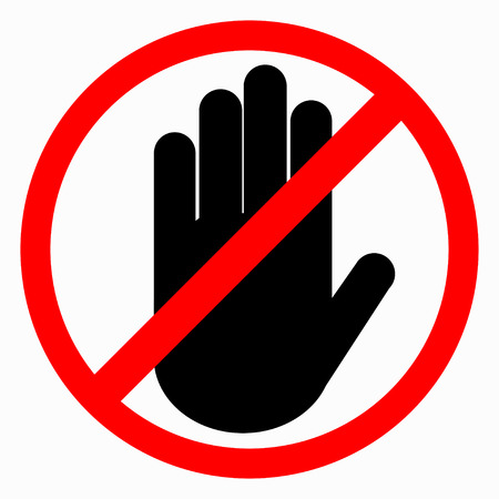 do not touch: The crossed hand in a red circle.  Hand ban