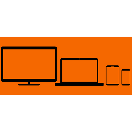 personal data assistant: Realistic monitors laptop tablet and phone vector  on a orange background