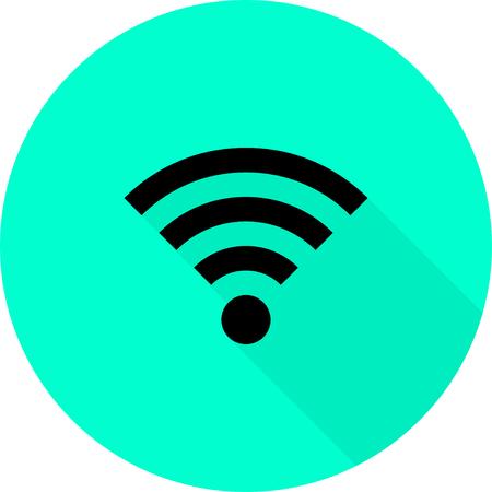 Wireless Icon, vector illustration. Flat design style.  Blue background