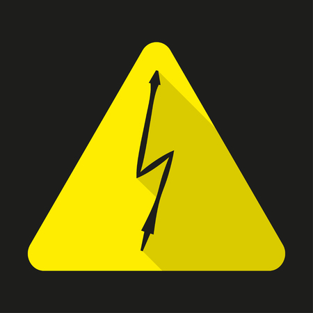 voltage sign: High voltage sign. Danger symbol. Black arrow isolated in yellow triangle.  Warning icon