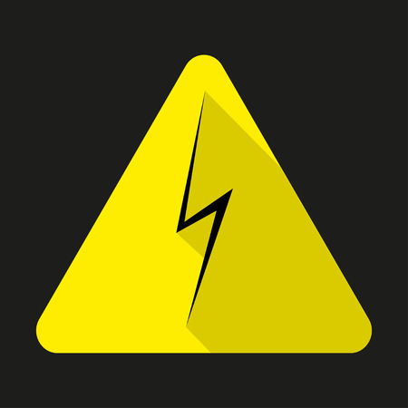 yellow beware: High voltage sign. Danger symbol. Black arrow isolated in yellow triangle.  Warning icon
