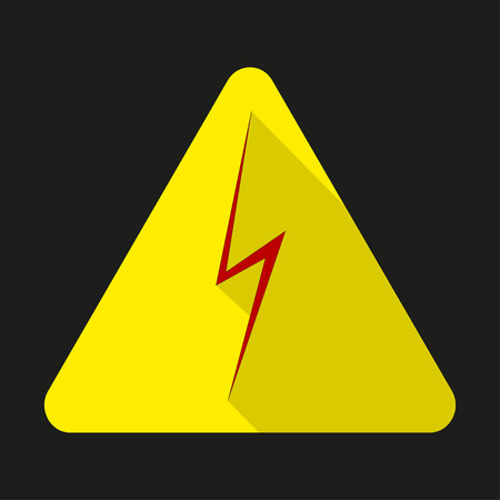 high voltage sign: High voltage sign. Danger symbol. Red arrow isolated in yellow triangle.  Warning icon Illustration