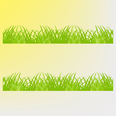 lea: Green grass on a yellow  background