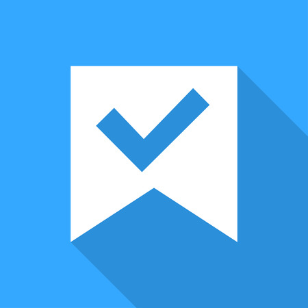 conformity: Check mark sticker on a blue background.  With flat shadow