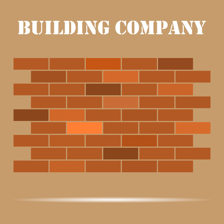 concrete block: Brick wall with a sign company. With shadow.  On beige background Illustration