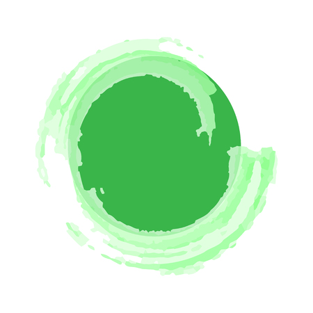 Green circle circled watercolor.  With an inscription