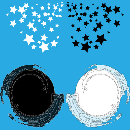 Background with stars. Two circles white and black.  Yin and yang Illustration