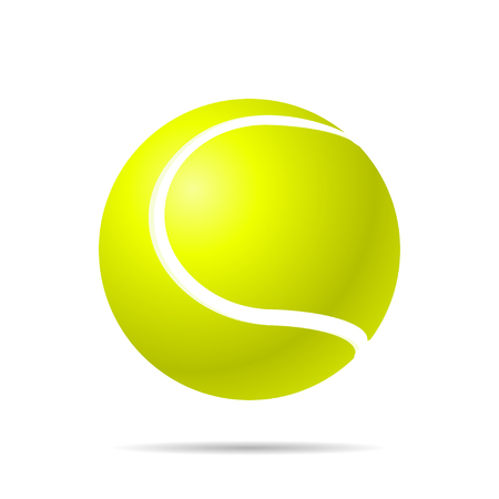 Realistic yellow tennis  ball with shadow