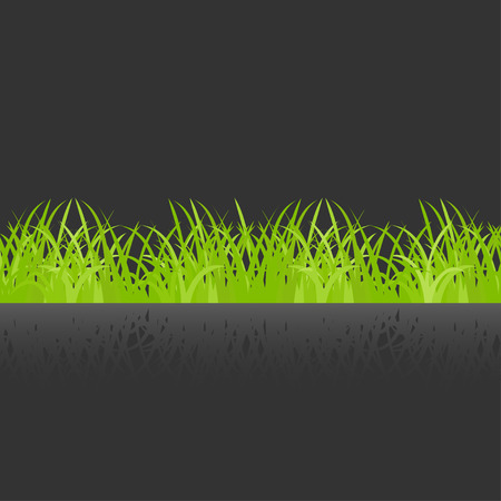 lea: Green grass with shadow  on a dark background Illustration