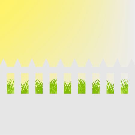 white fence: Grass with white  fence Illustration