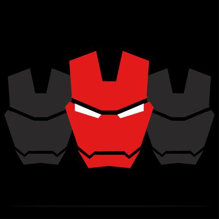 villain: Red mask  superhero Illustration
