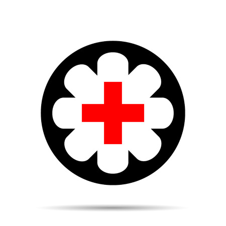 first nations: Medical red cross in a black  circle with a shadow Illustration