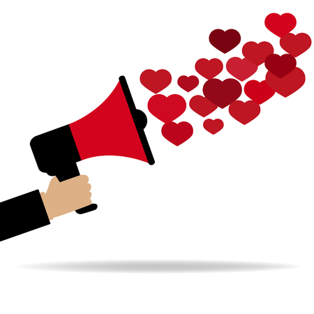 Red megaphone  from which fly out of the heart Stock Illustratie