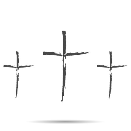 carrying the cross: Three black cross  with shadow Illustration