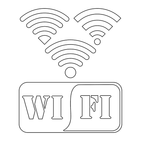 hot wife: Outline drawing Wi Fi icons.  Thin line style design