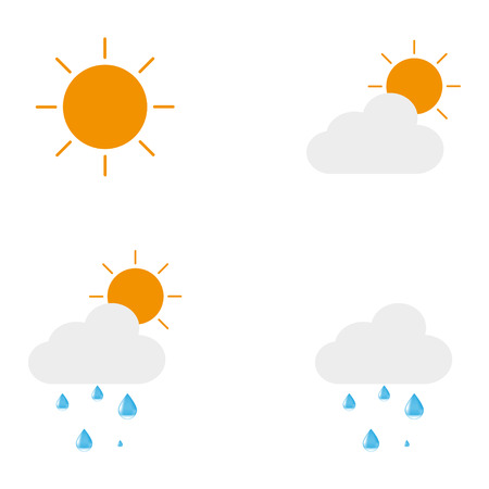day forecast: Icons describing the weather forecast. The sun. Sun with cloud. Sun with cloud and drops. Cloud  with droplet
