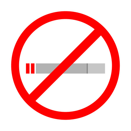 smoking ban: The ban on smoking cigarettes.  Cigarette in a red circle on a white background
