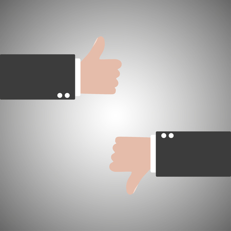 thumb down: Thumbs up and thumb down  on a gray background Illustration