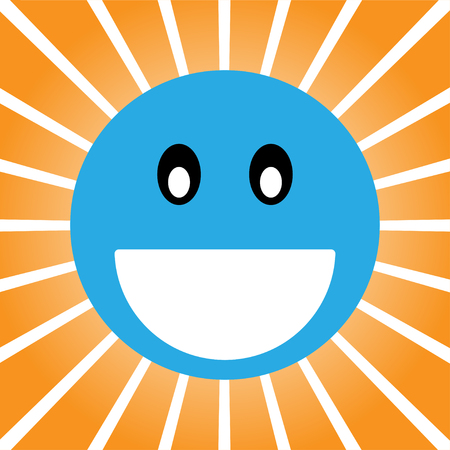 smiley pouce: Blue cheerful smile  on an orange background