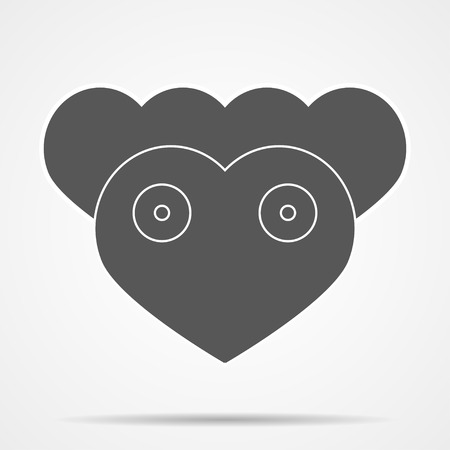 deer in heart: Three hearts in the form of a small deer.  Heart with shadow on a gray background. Deer with shadow on a gray background