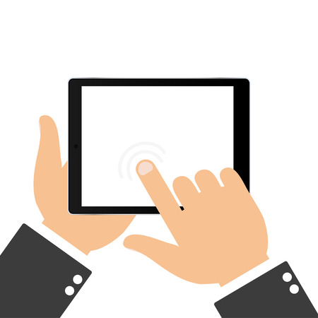 using tablet: Hand touching blank screen of tablet. Using digital tablet, flat design concept.  Touching the screen with your finger