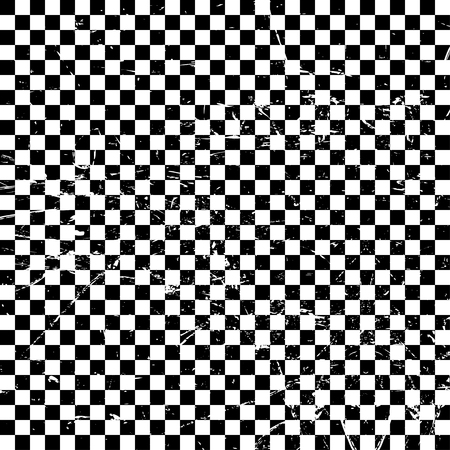 Checkered black and white background  with texture