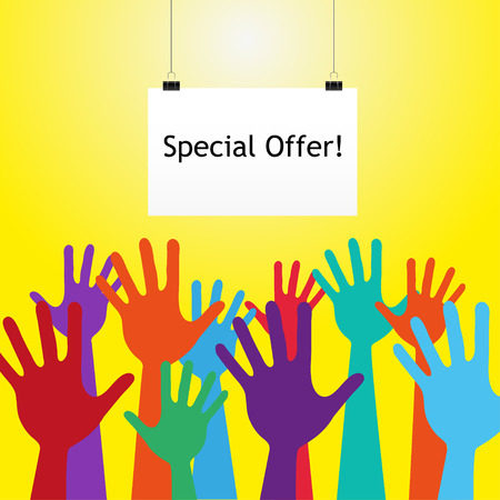special education: Colorful Hand Up.  With text special offer
