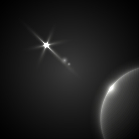 heavenly light: Light effect in space. Heavenly bodies in space.  On the planet of light falls