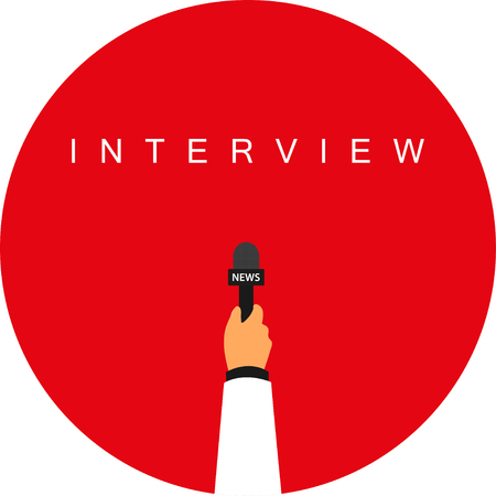 publicist: Hand with microphone.  The inscription in the circle of interview Illustration