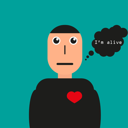alive: The man says  that he is alive, red heart beats Illustration