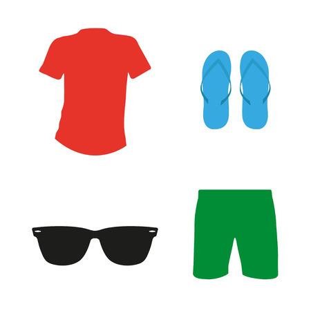 summer clothes: Set of summer clothes.  Mike, flip flops and shorts, sunglasses