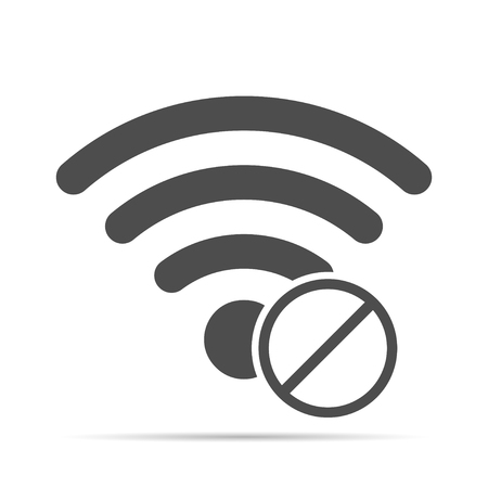 no access: Wireless icon with shadow.  No access to the wireless Illustration