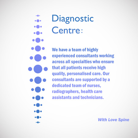 Spine diagnostic center on blue background